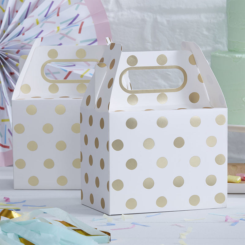 Gold Metallic Polka Dot Party Boxes  Party Lunch Box Ginger Ray - Hello Party