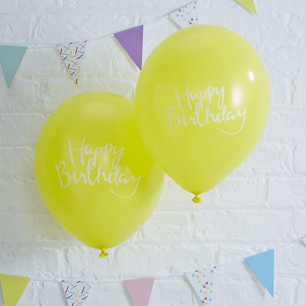 Happy Birthday Yellow Balloons  Balloons Ginger Ray - Hello Party