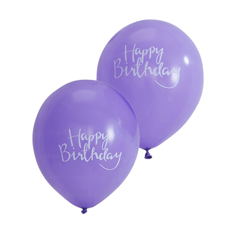 Happy Birthday Purple Balloons  Balloons Ginger Ray - Hello Party