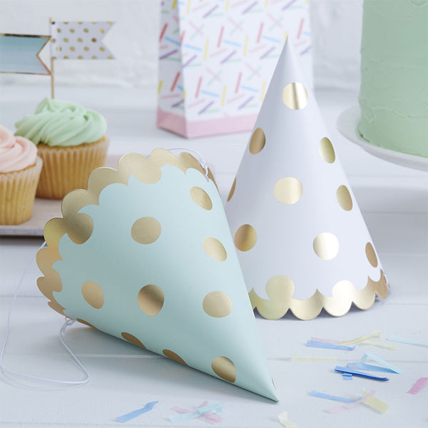 Gold Metallic Polka Dot Party Hats