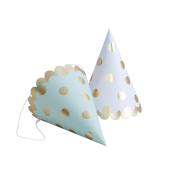 Gold Metallic Polka Dot Party Hats  Party Hats Ginger Ray - Hello Party