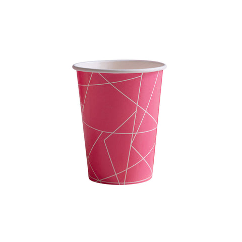 Neon Pink Geometric Paper Cups