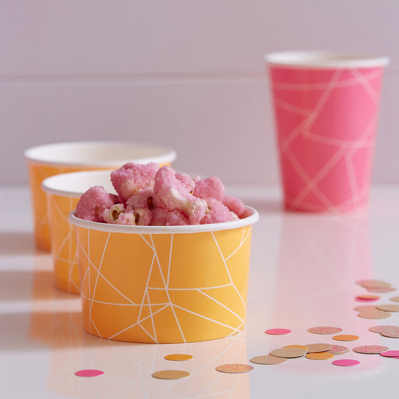 Neon Orange Geometric Ice Cream / Treat Tubs  Party Tubs Ginger Ray - Hello Party