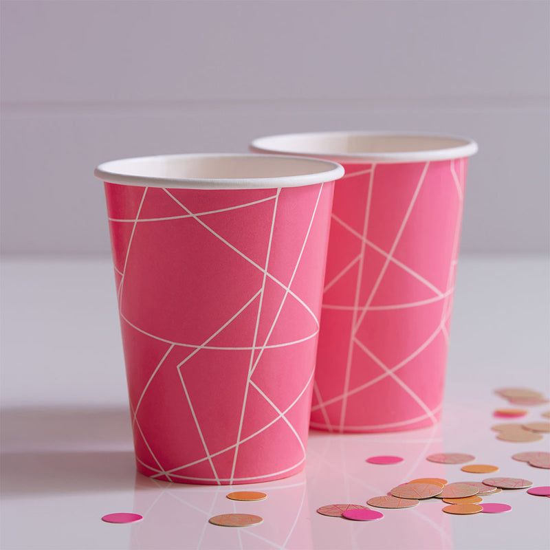Neon Pink Geometric Paper Cups  Party Cups Ginger Ray - Hello Party
