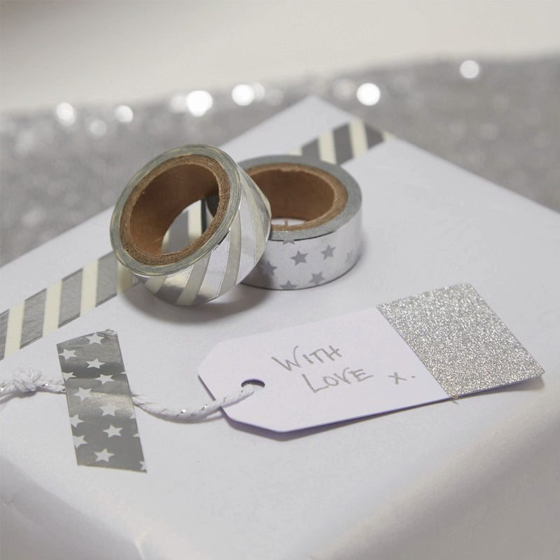 Silver Metallic Washi Tape  Washi Tape Ginger Ray - Hello Party