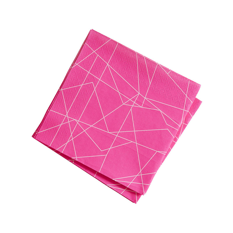 Neon Pink Geometric Paper Napkins  Napkins Ginger Ray - Hello Party