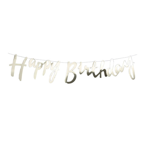 Gold Happy Birthday Script Garland