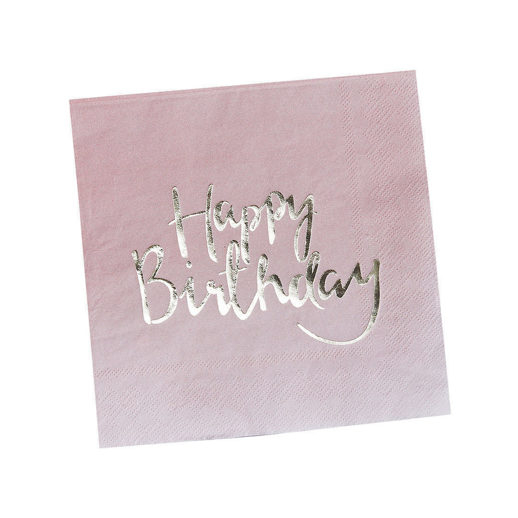 Gold Metallic Pink Ombre Happy Birthday Paper Napkins