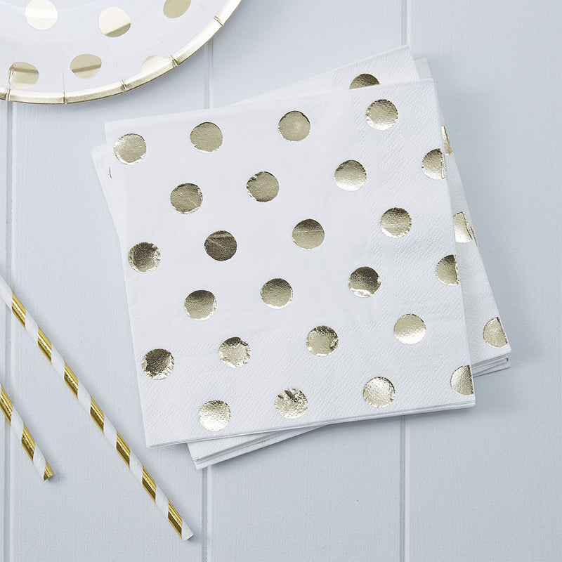 Gold Metallic Polka Dot Paper Napkins  Napkins Ginger Ray - Hello Party
