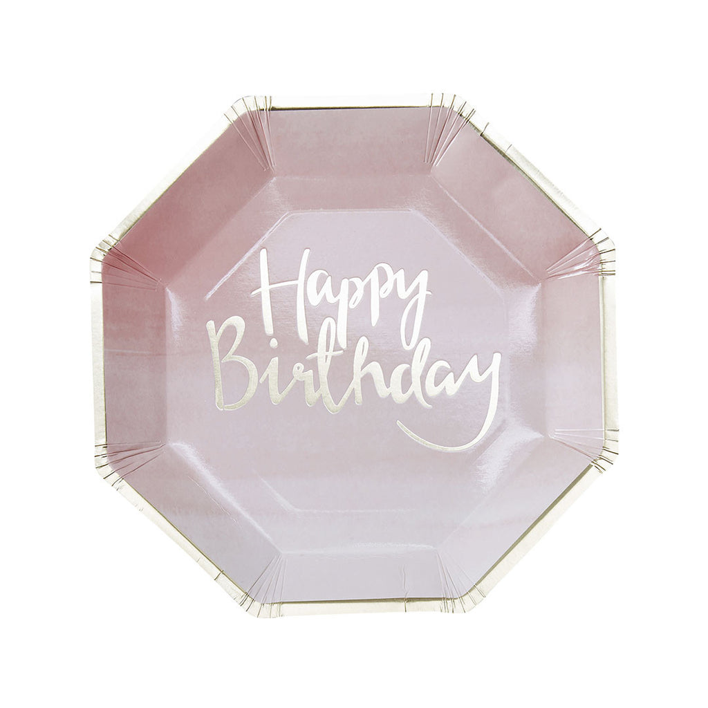 Gold Metallic Pink Ombre Happy Birthday Paper Plates