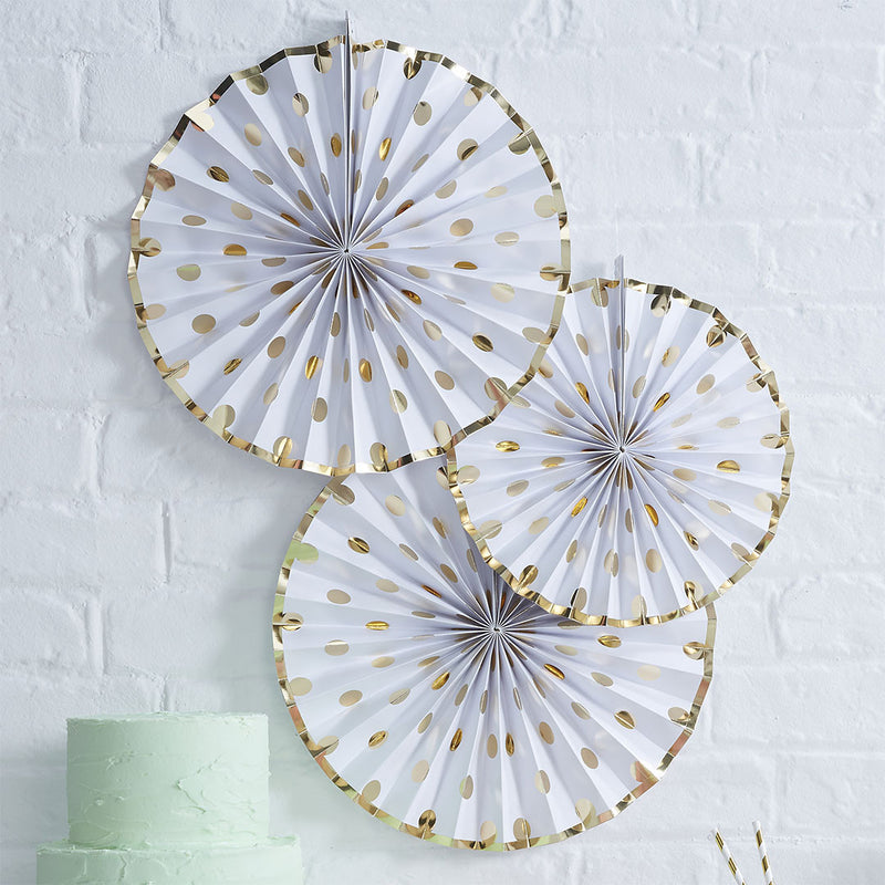 Gold Metallic Polka Dot Paper Fan Decorations  Paper Fans Ginger Ray - Hello Party