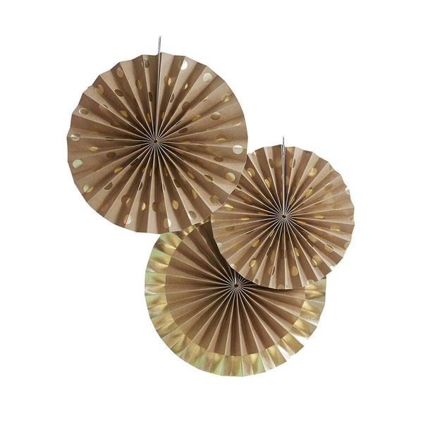 Gold Foil & Kraft Fan Decorations  Paper Fans Ginger Ray - Hello Party