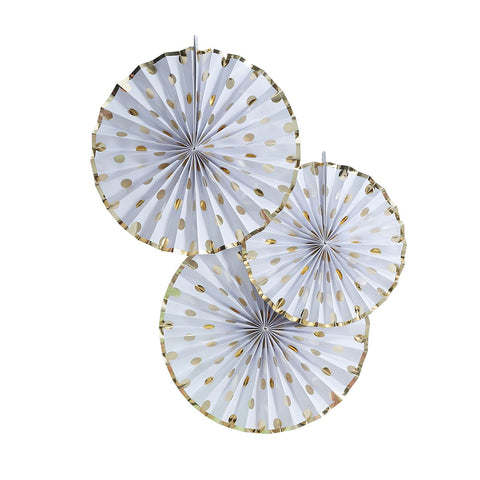 Gold Metallic Polka Dot Paper Fan Decorations