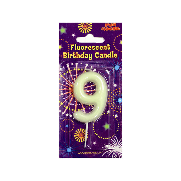 Number 9 Glow in the Dark Birthday Candle  Party Candles HelloPartyUK - Hello Party