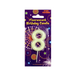 Number 8 Glow in the Dark Birthday Candle  Party Candles HelloPartyUK - Hello Party