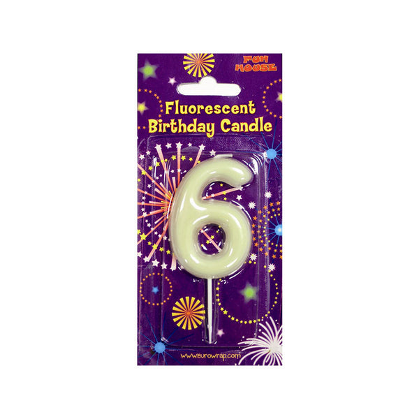 Number 6 Glow in the Dark Birthday Candle  Party Candles HelloPartyUK - Hello Party