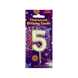 Number 5 Glow in the Dark Birthday Candle  Party Candles HelloPartyUK - Hello Party