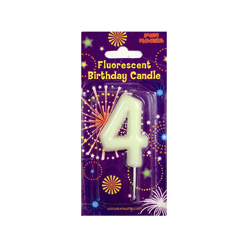 Number 4 Glow in the Dark Birthday Candle  Party Candles HelloPartyUK - Hello Party