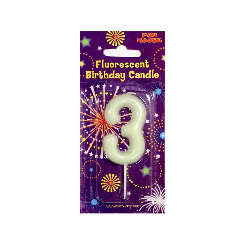 Number 3 Glow in the Dark Birthday Candle  Party Candles HelloPartyUK - Hello Party