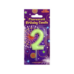 Number 2 Glow in the Dark Birthday Candle  Party Candles HelloPartyUK - Hello Party