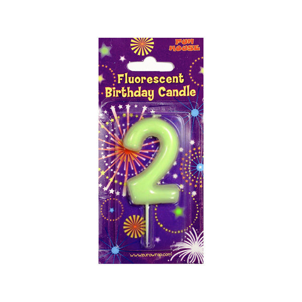 Glow in the Dark Number Birthday Candle  Party Candles HelloPartyUK - Hello Party