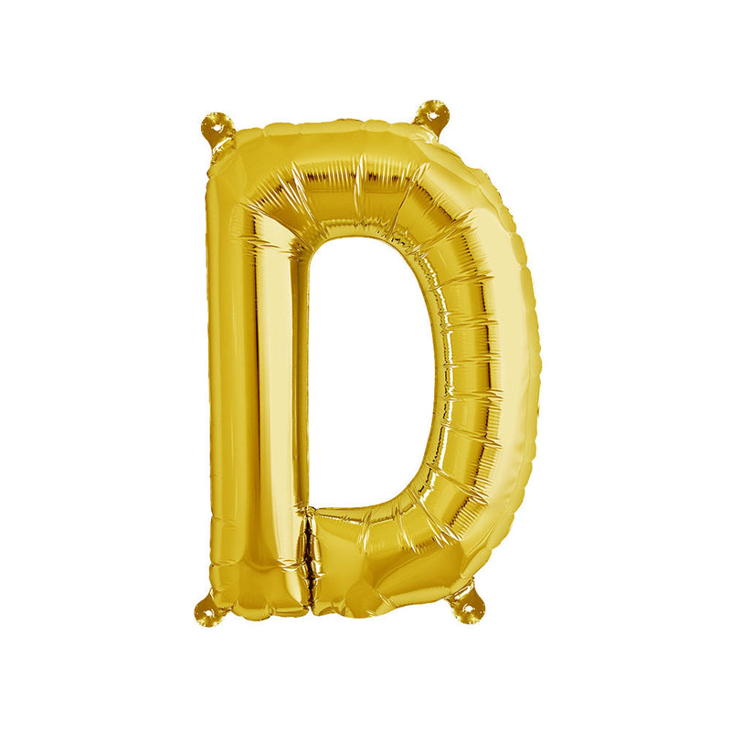 16 inch Gold Letter D Foil Balloon