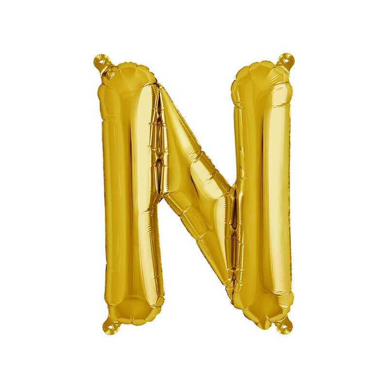 16 inch Gold Letter N Foil Balloon