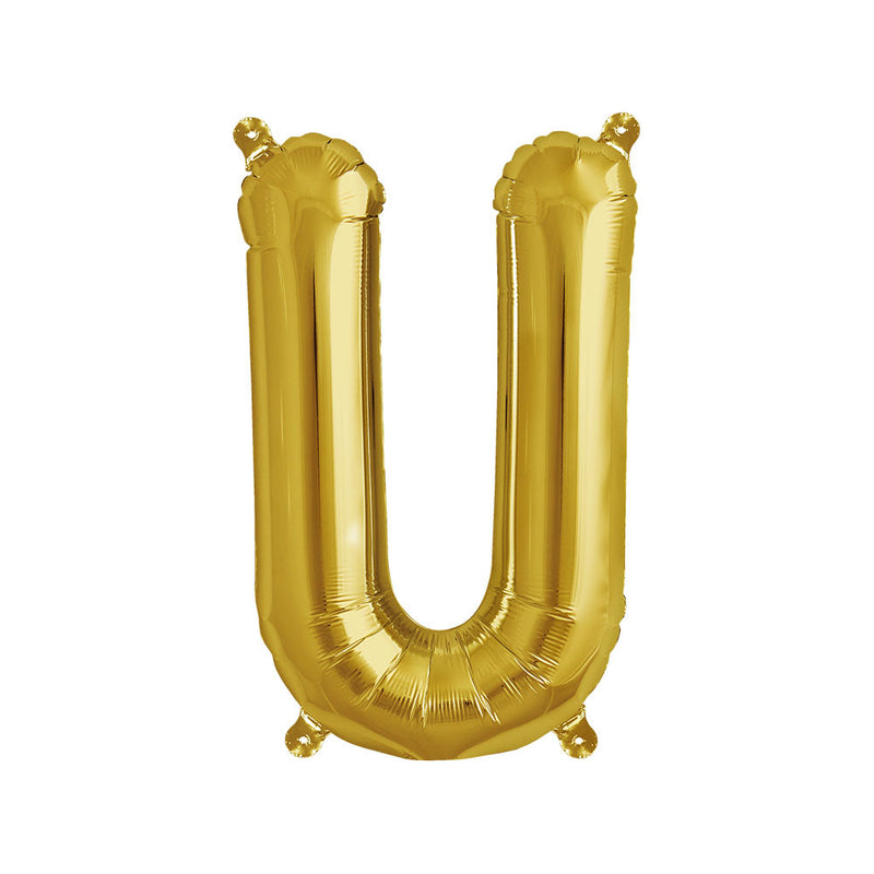 16 inch Gold Letter U Foil Balloon