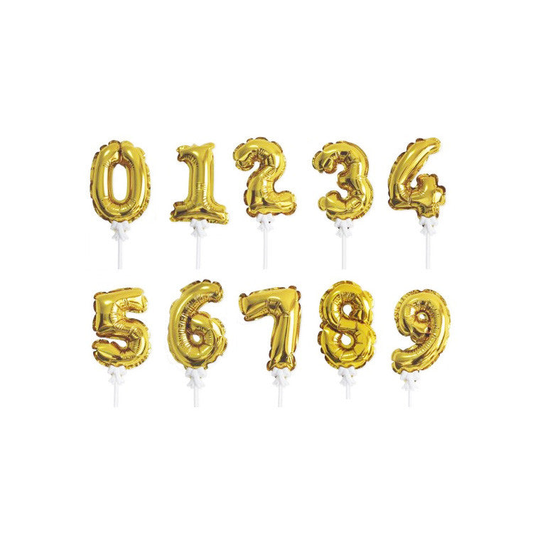 Mini Gold Balloon Number Topper  Cake Toppers Talking Tables - Hello Party