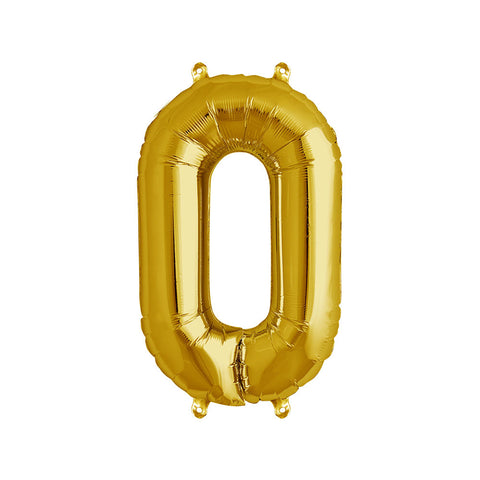 16 inch Gold Number 0 Foil Balloon