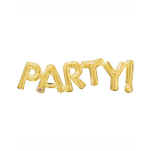 "Gold Party Air Fill 33"" x 9"" Shape Foil Balloon"