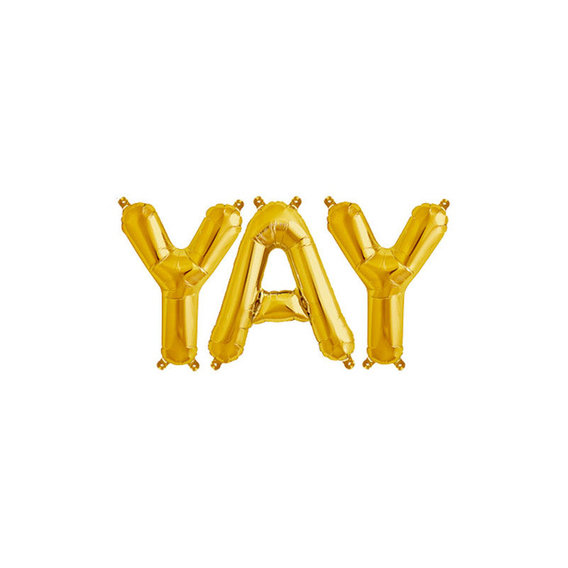 YAY - 16 inch Gold Foil Letter Balloon Pack  Balloons Hello Party - All you need to make your party perfect! - Hello Party