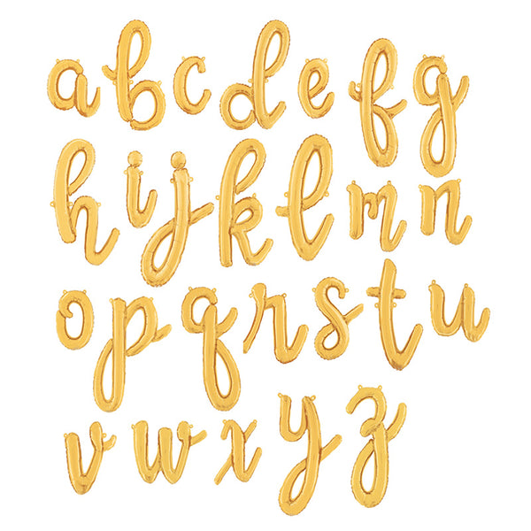 Individual Gold Script Letter Foil Balloons (air-fill)