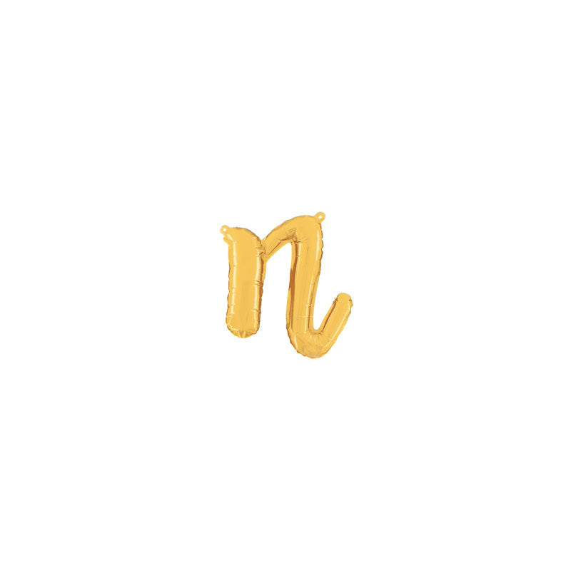 Individual Gold Script Letter Foil Balloons (air-fill)  Balloons Betallic - Hello Party