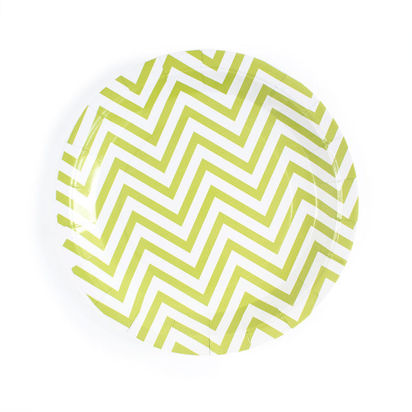 Green Chevron Round Paper Plates  Party Plates Hello Party Essentials - Hello Party