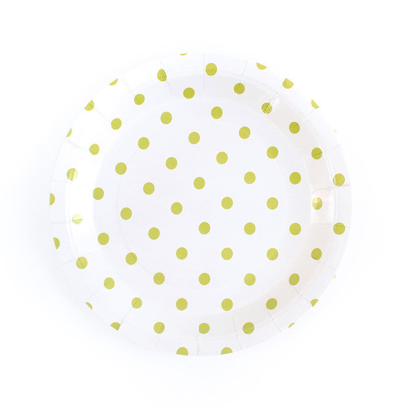 Green Spotty Round Paper Plates