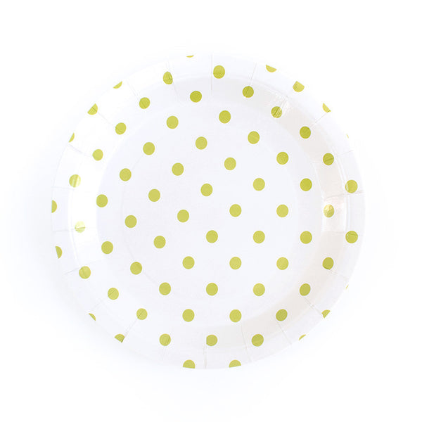 Green Spotty Round Paper Plates  Party Plates Hello Party Essentials - Hello Party