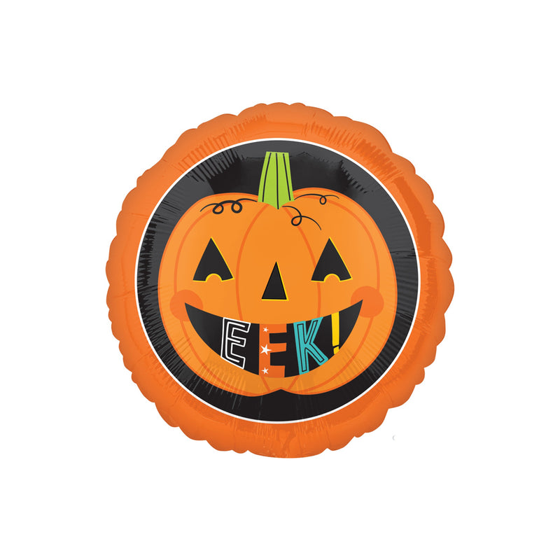 Halloween Eek Pumpkin Round Foil Balloon  Balloons Hello Party - All you need to make your party perfect! - Hello Party