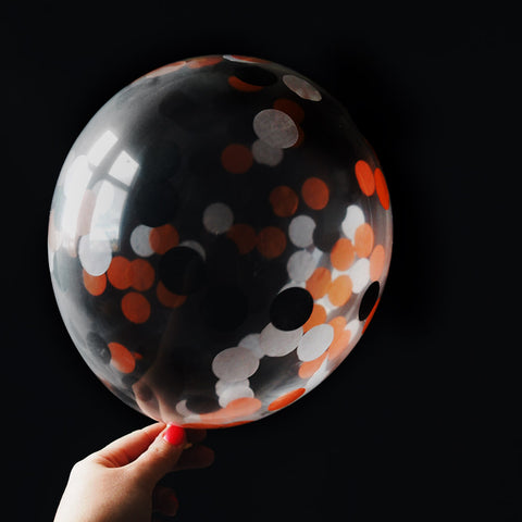 Halloween Black and Orange Confetti Filled Balloons