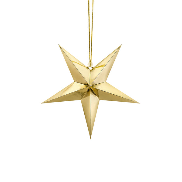 Gold Paper Star Hanging Decoration (30cm)  Hanging Decorations Party Deco - Hello Party