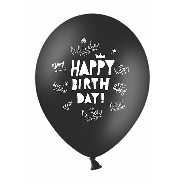 Black Happy Birthday Scribbles Balloons (pack of 3)  Printed Latex Balloons Party Deco - Hello Party