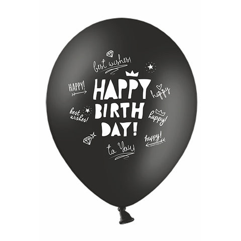 Black Happy Birthday Scribbles Balloons (pack of 3)