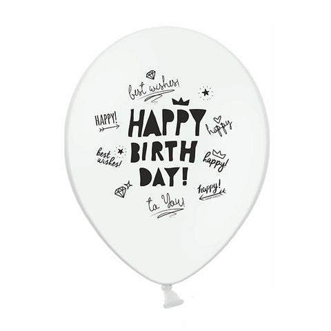 White Happy Birthday Scribbles Balloons (pack of 3)