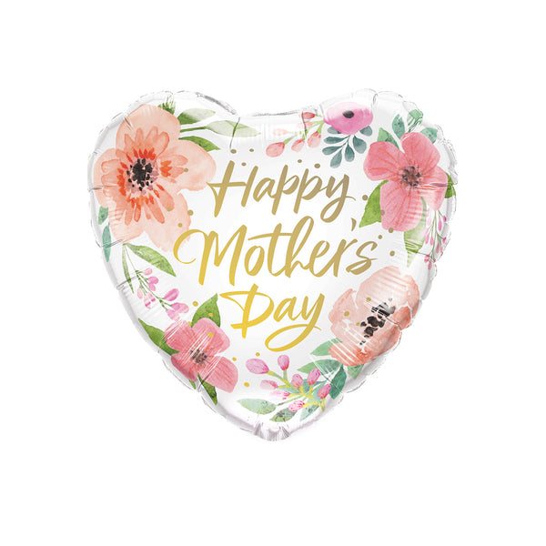 Happy Mother's Day Floral Heart Foil Balloon