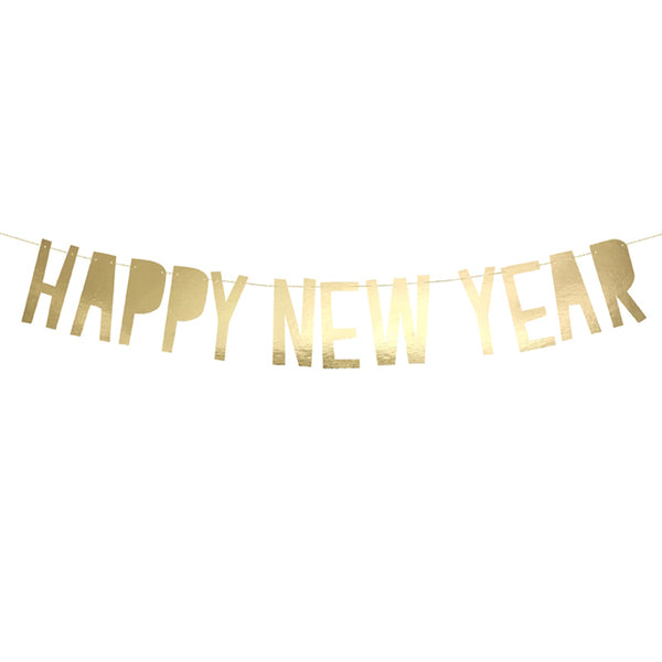 Happy New Year Metallic Gold Letter Banner