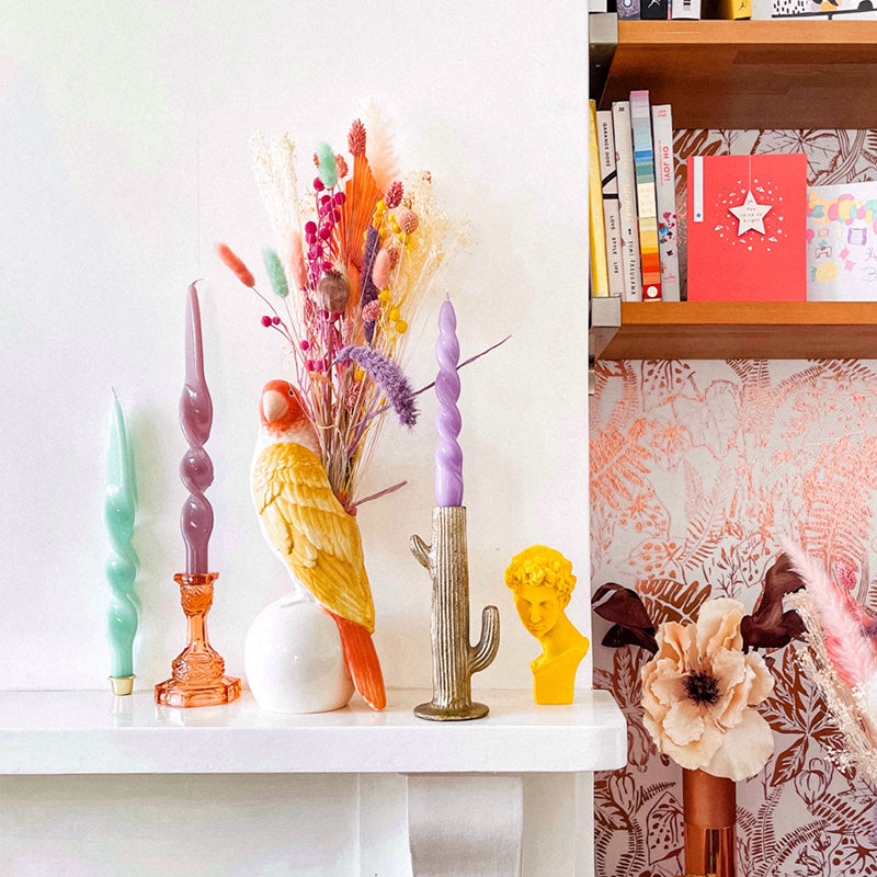 A Happy Bunch - Sherbet Rainbow Dried Flowers | Baked Blooms  mantle with spiral and twisted candles