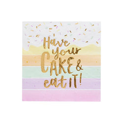 Have Your Cake Cake Paper Napkins  Napkins Club Green - Hello Party