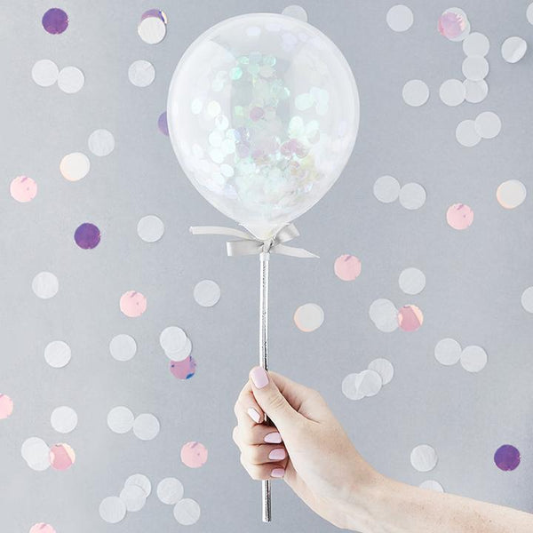 Iridescent Mini Confetti Balloon Wands  | Hello Party Stylish & Fun Party Supplies