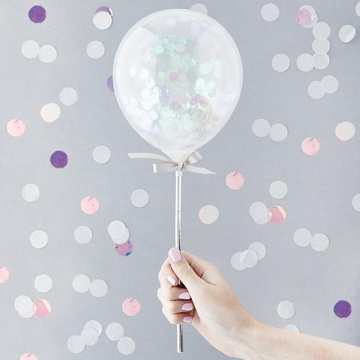 Iridescent Mini Confetti Balloon Wands  Balloon Wands Club Green - Hello Party