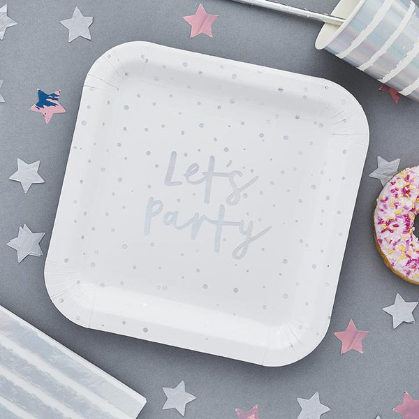 Iridescent Let's Party Paper Plates  | Stylish & Fun Party Tableware